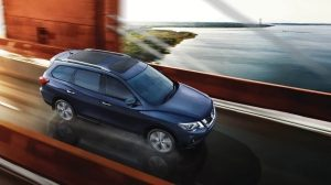 Nissan Pathfinder crossing bridge