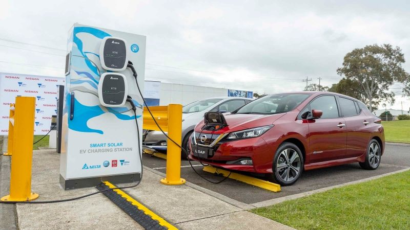 Smart Solar EV Charging Station charging Nissan LEAF