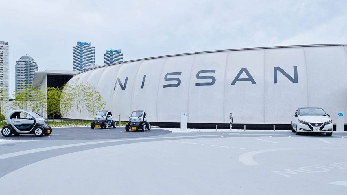 Nissan pavilion with electric vehicles