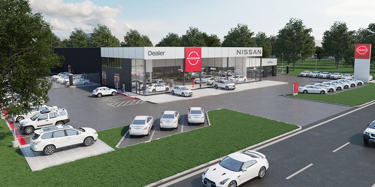 Nissan dealership render with new logo