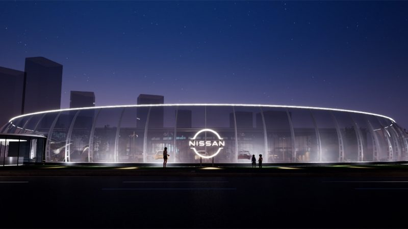 Nissan pavilion with redesigned logo
