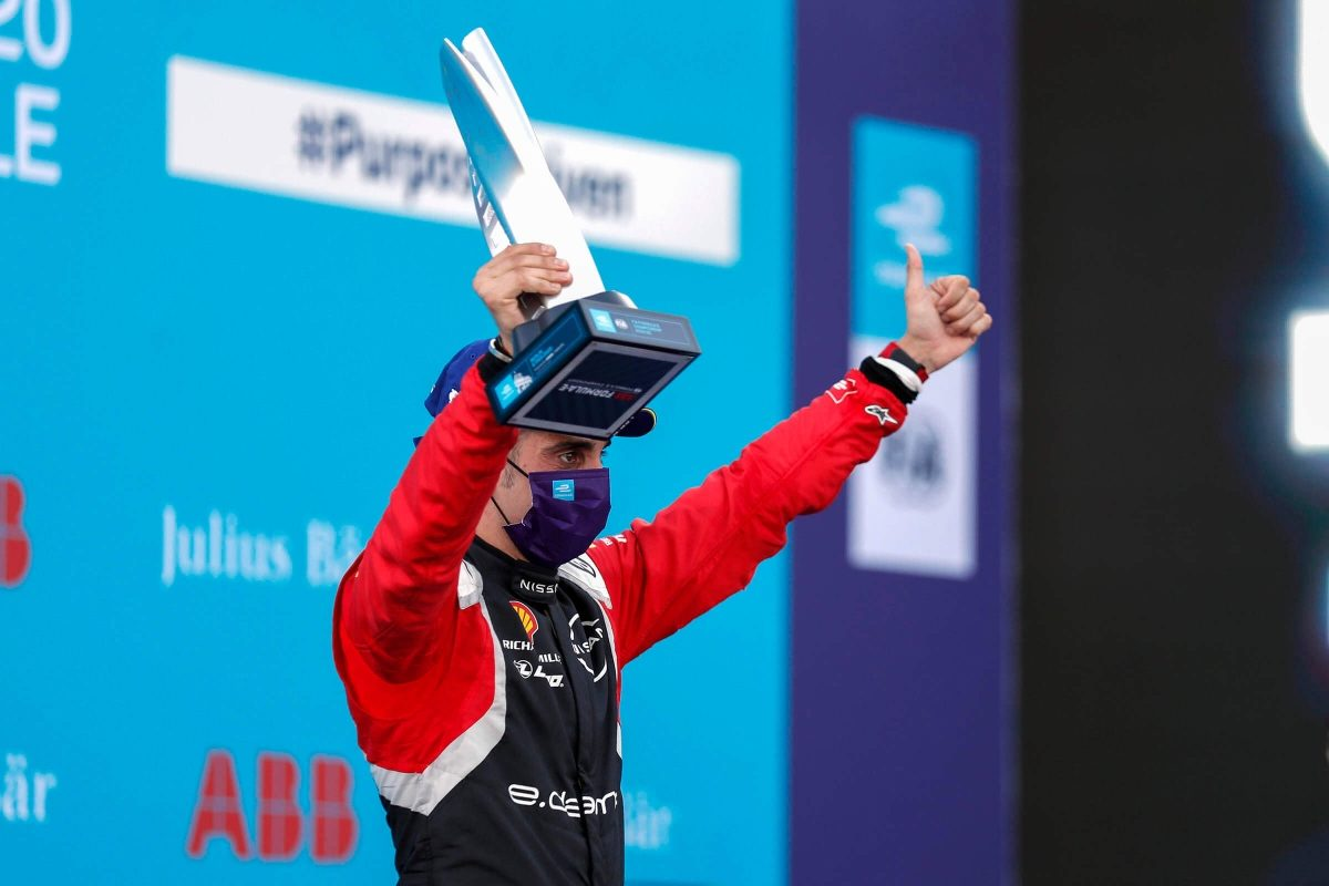Sebastien Buemi on the podium in Berlin