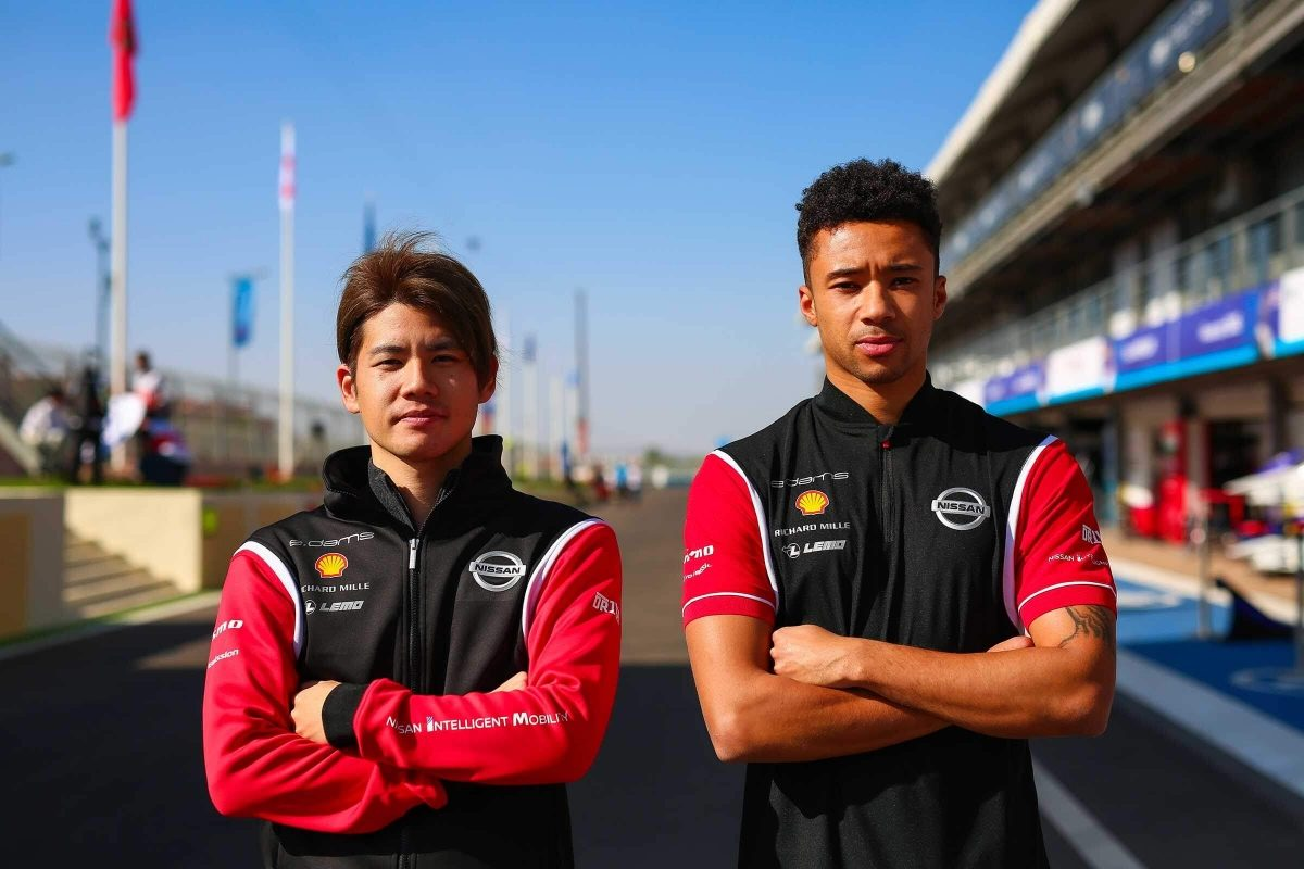 Nissan Formula E test drivers Mitsunori Takaboshi and Jann Mardenborough