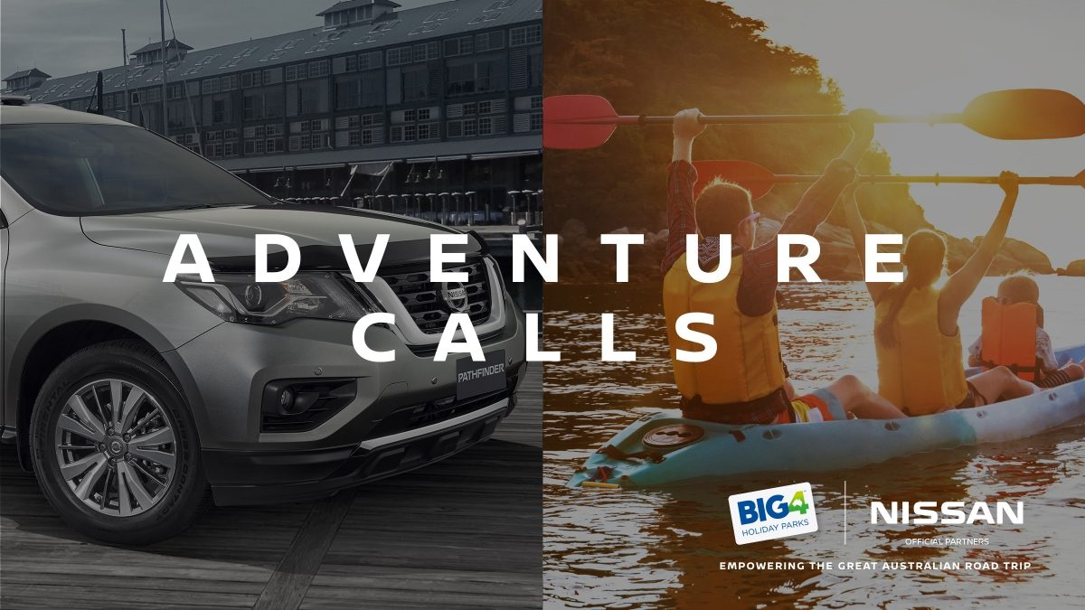 'Adventure Calls' - Split image with Nissan Pathfinder and family kayaking