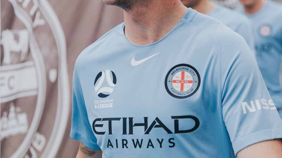 Melbourne City FC jersey with Nissan logo on sleeve
