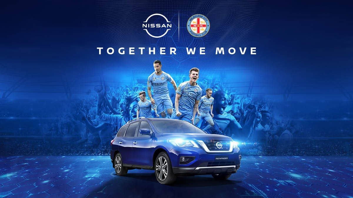 'MCFC | Nissan Official Automotive Partner; Together We Move' - Stylised banner with MCFC players and a Caspian Blue Nissan Pathfinder