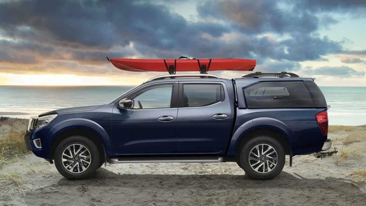 accessorised Nissan Navara on beach