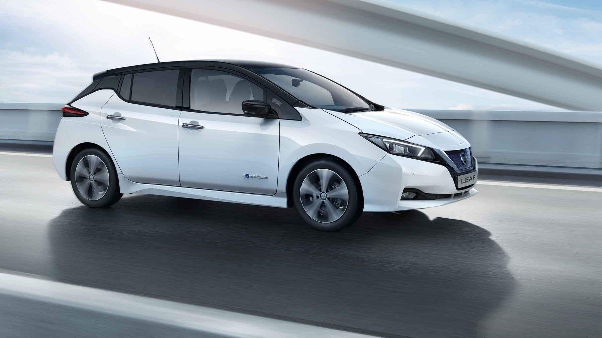 Nissan LEAF driving on highway