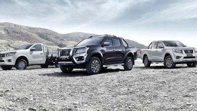 Three Nissan Navara's in open landscape