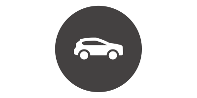 Car in magnifying glass icon