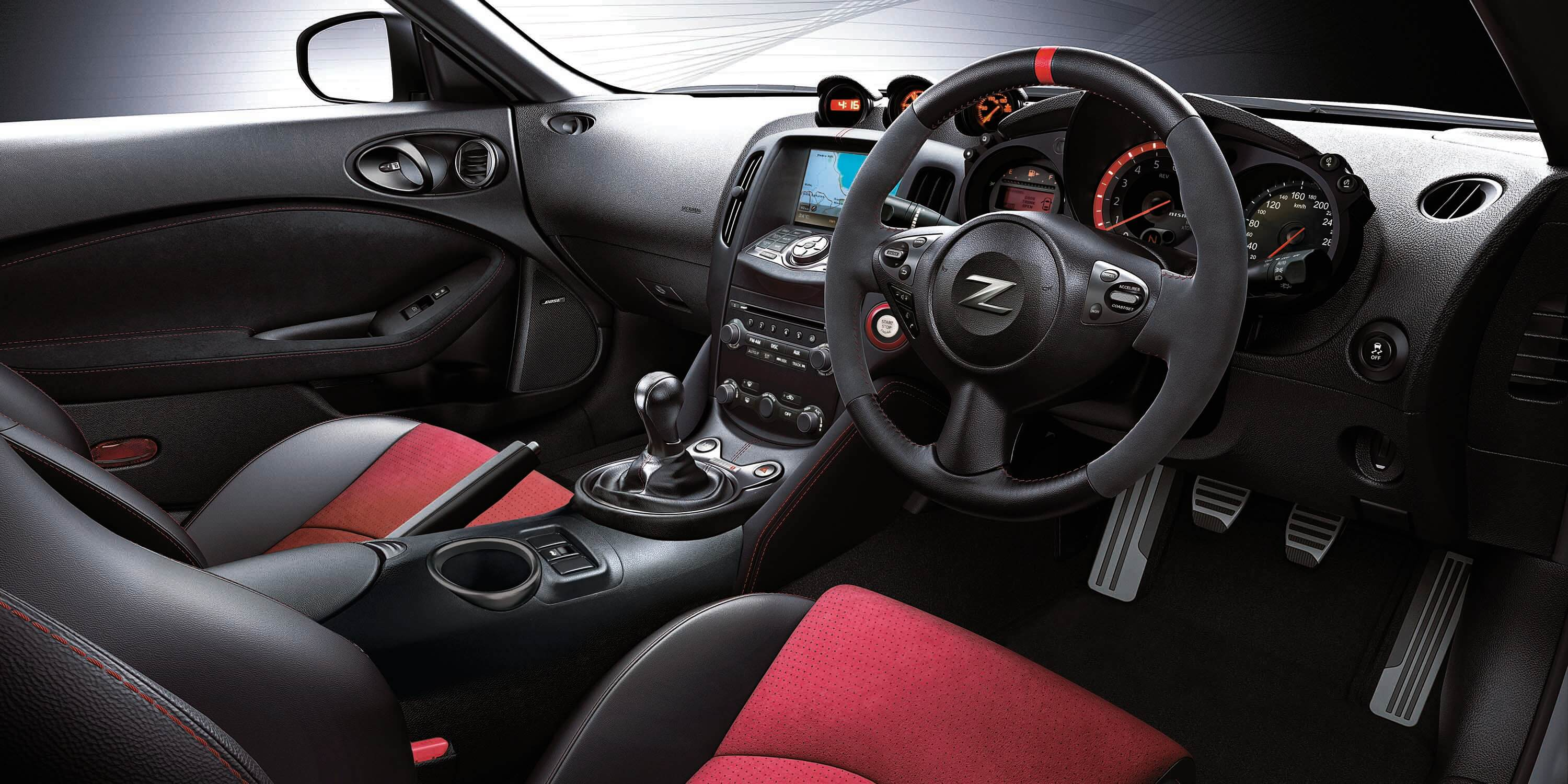 370Z interior with red trim highlights