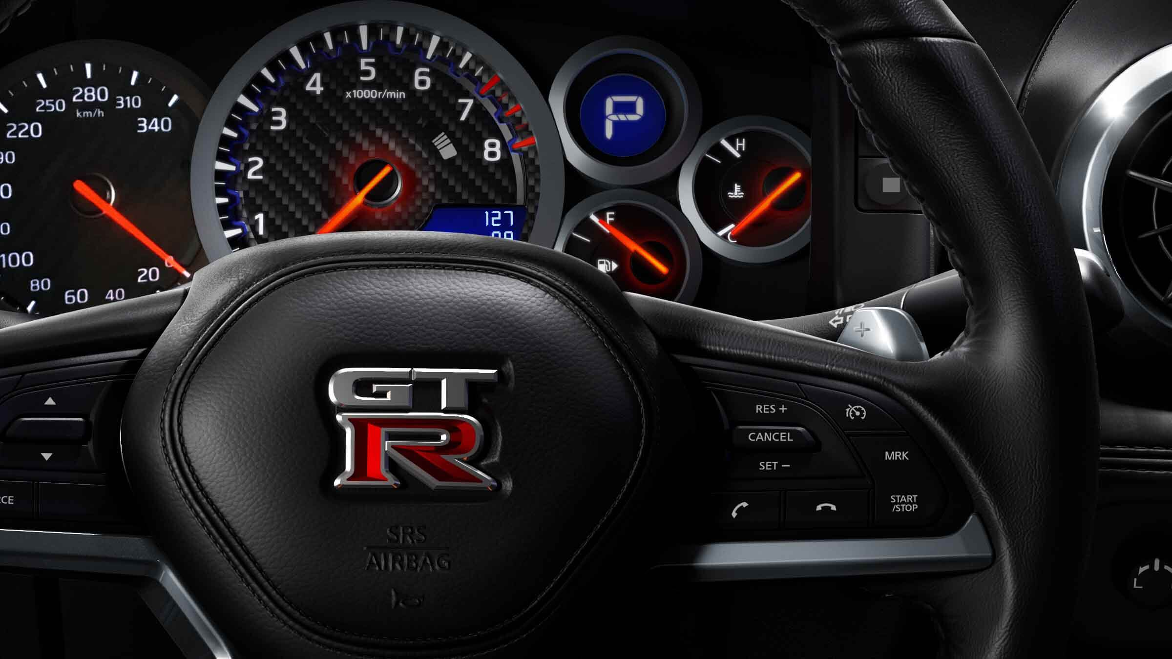 GT-R Steering Wheel and Gauges