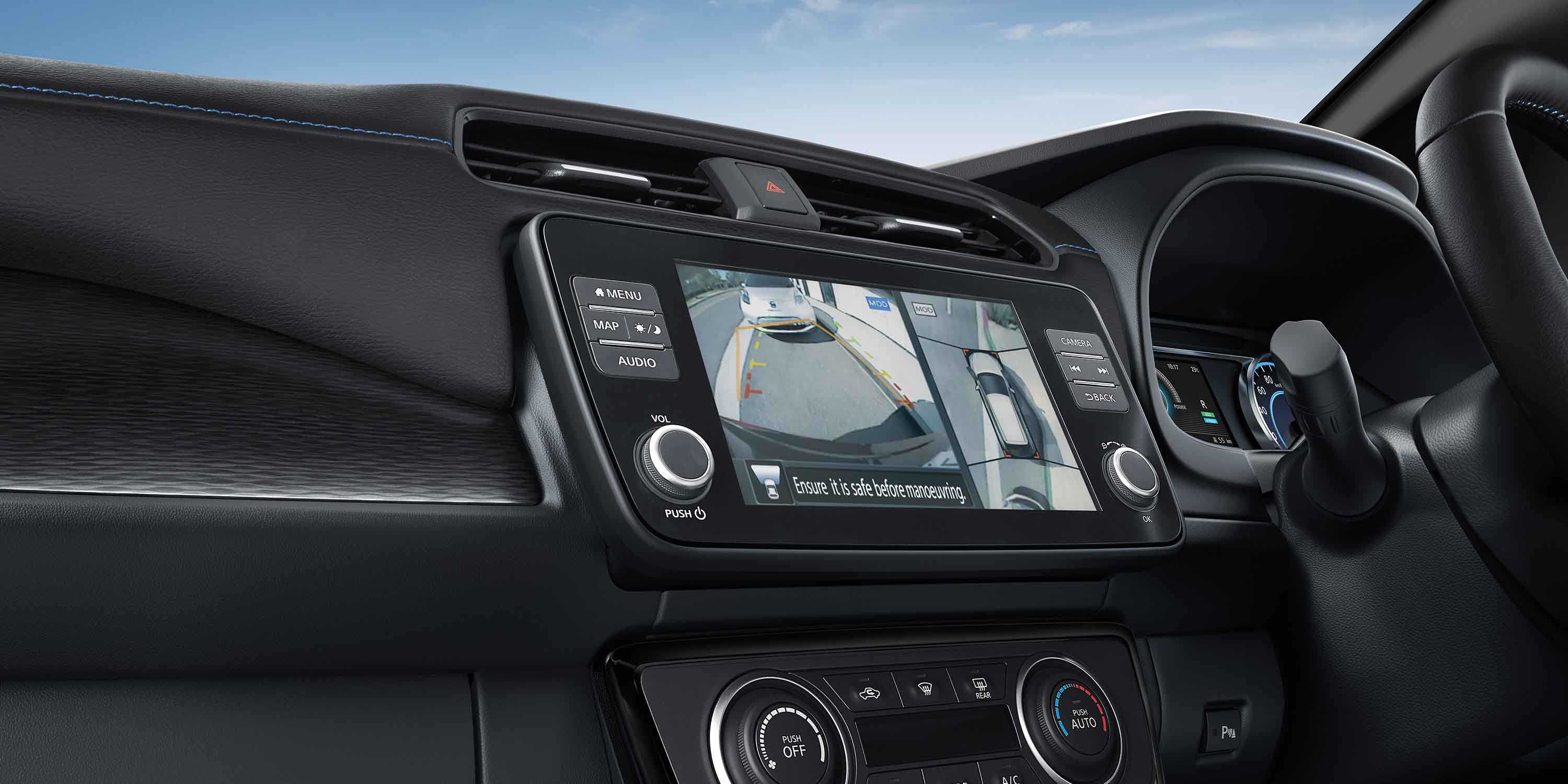 Nissan LEAF centre console and touch-screen display