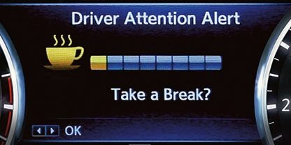 Nissan Driver alert message - 'Take a break?'