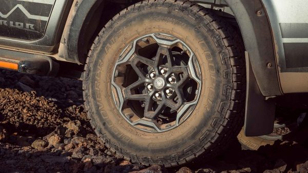 N-TREK Warrior 17-inch tyre closeup on dirt terrain