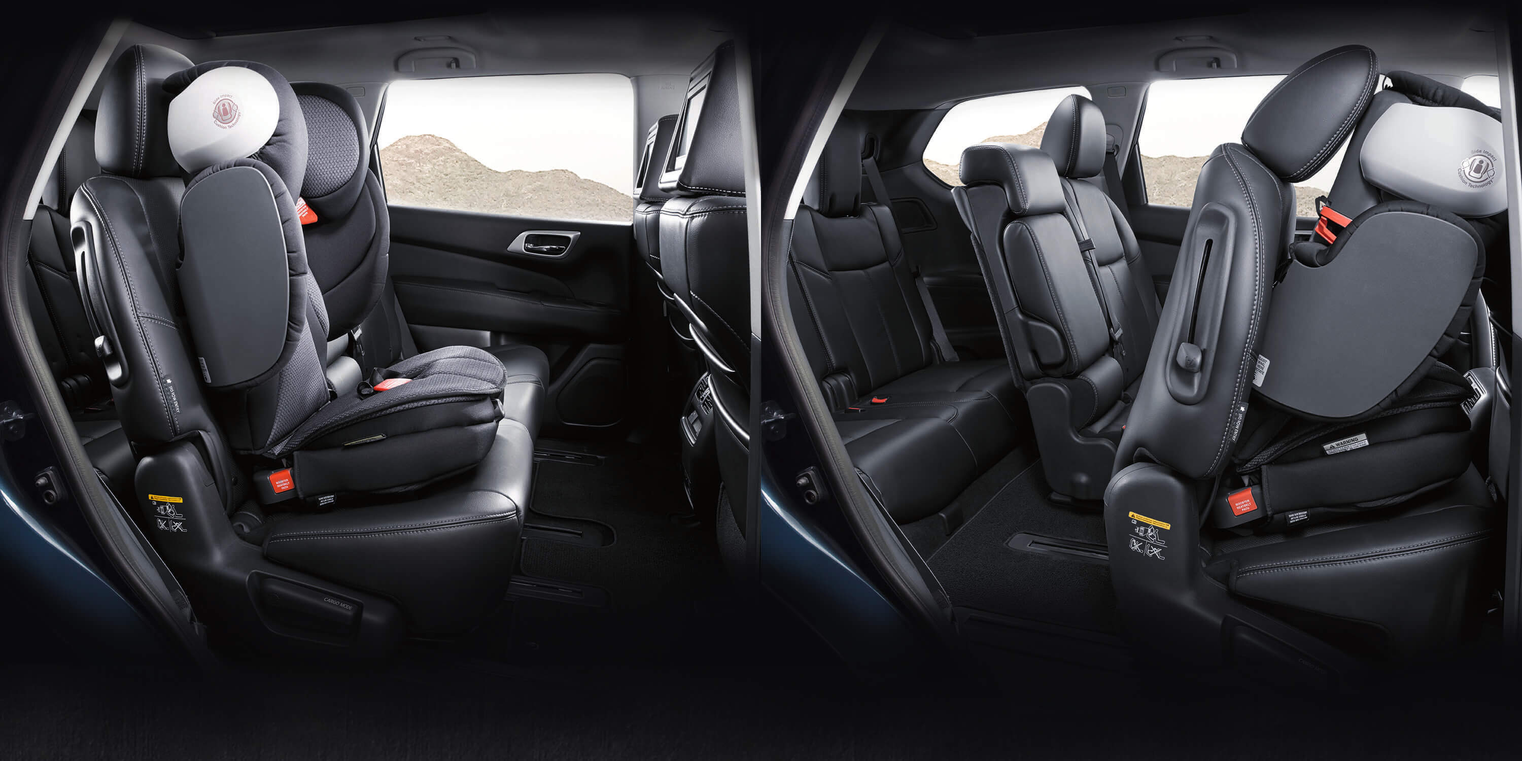 Nissan Pathfinder rear seat folded and unfolded