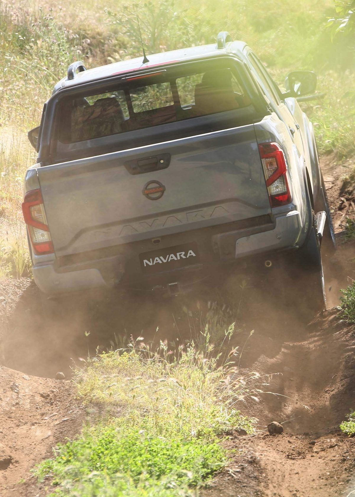 New Nissan Navara 3/4 profile in country landscape
