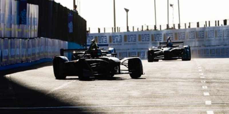 Formula E racers on straightaway