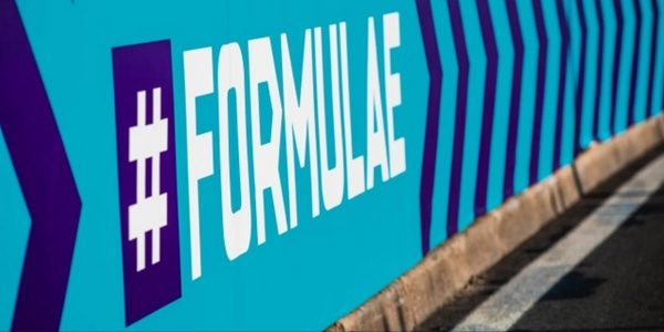 Formula E painted on track wall
