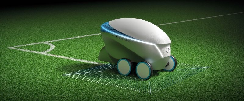 Pitch-R line-painting robot on soccer field