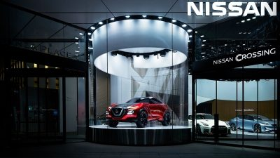 Nissan Crossing cylinder exhibit space
