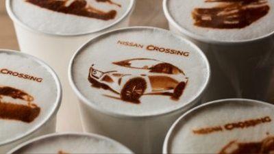 Nissan Crossing coffee drinks with macchi-art