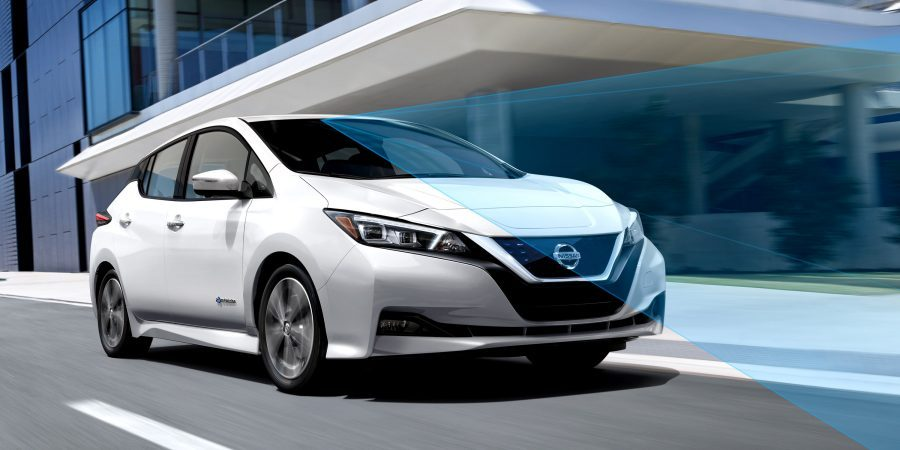 Nissan LEAF in city with driving sensors