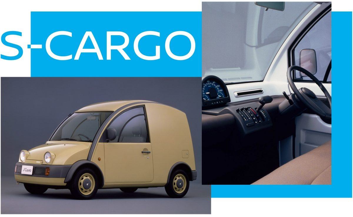 Interior and exterior view of the Nissan S-Cargo delivery van