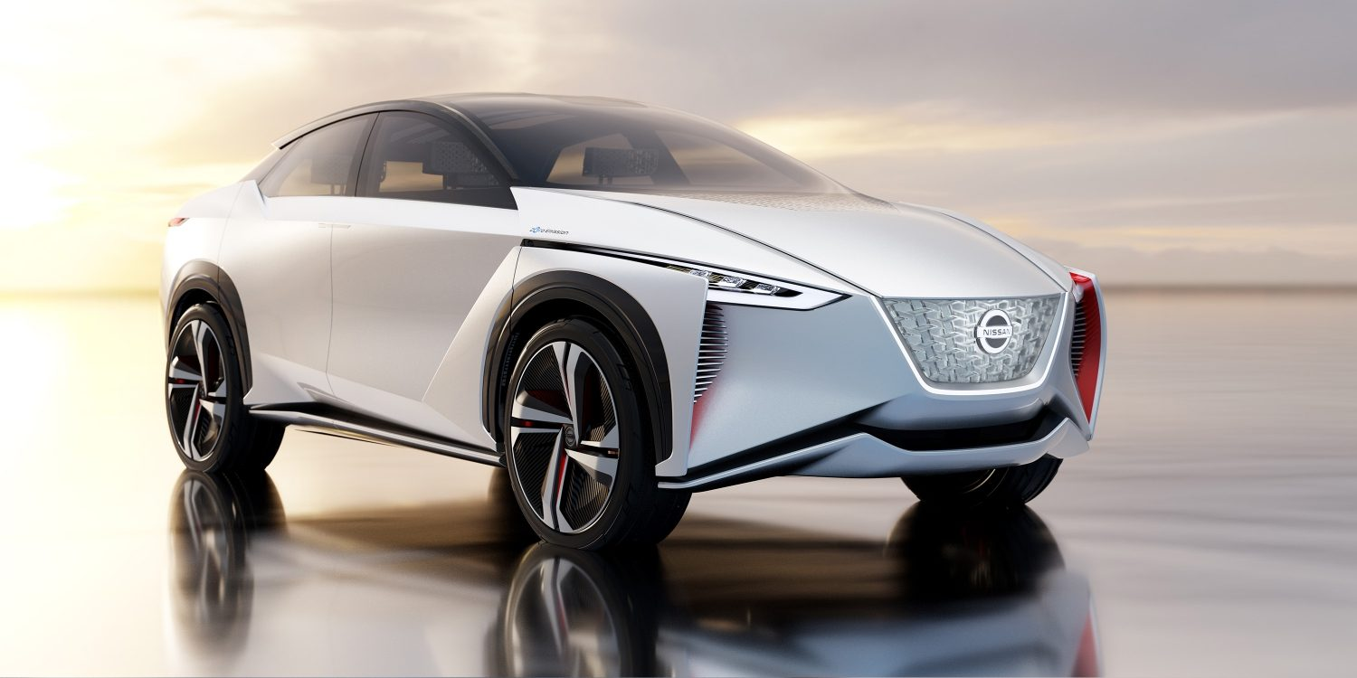 Nissan IMx concept car exterior 3/4 front in desert