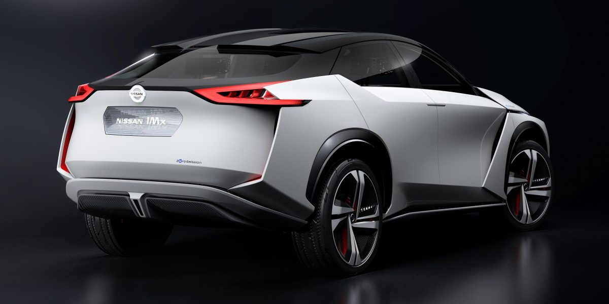 Nissan IMx concept car 3/4 exterior back in dark studio