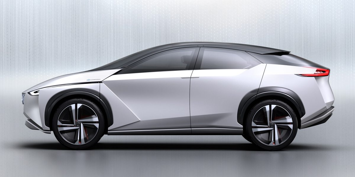 Nissan IMx concept car exterior profile in light gray studio