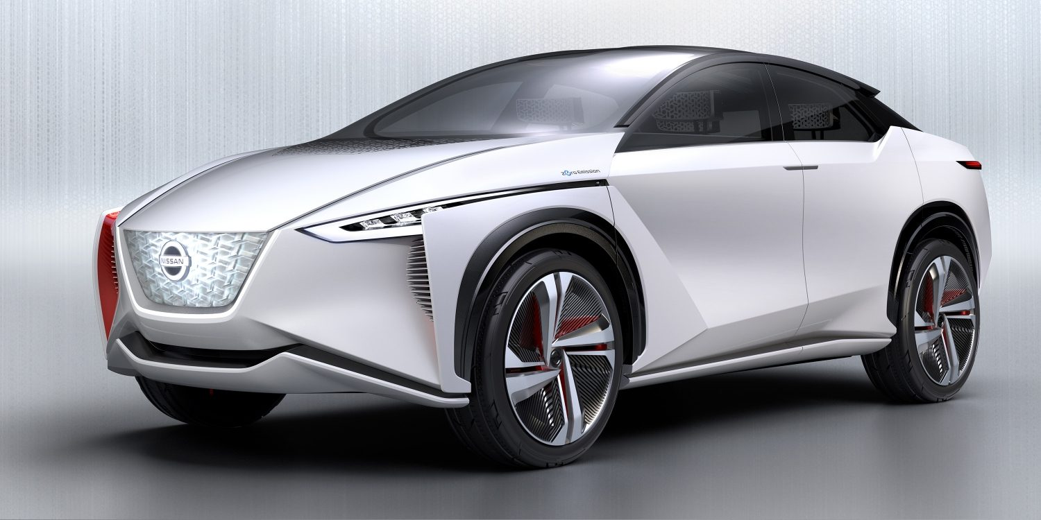 Nissan IMx concept car exterior 3/4 front in light gray studio