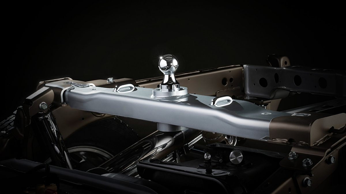 Titan XD integrated gooseneck hitch detail.