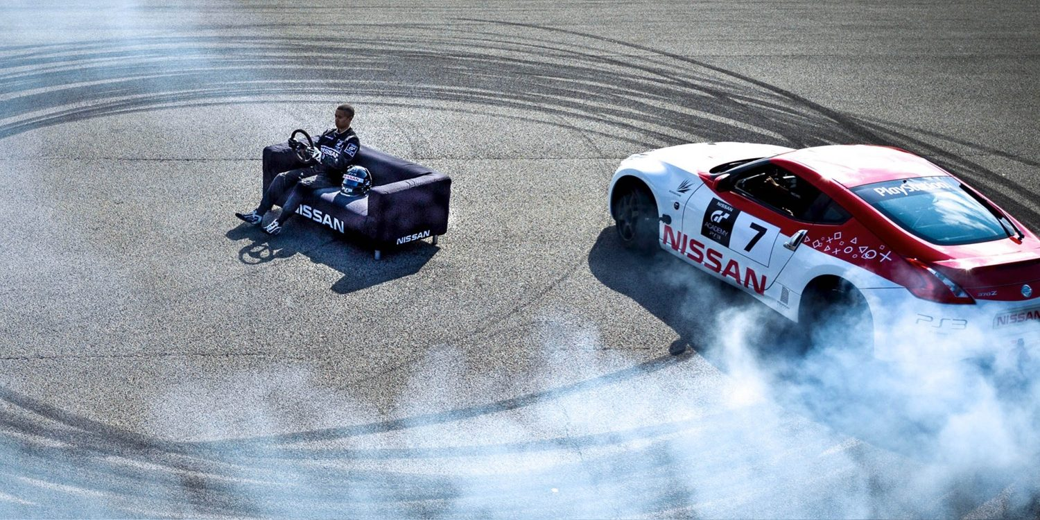 Nissan Race Car doing donuts around kid on couch