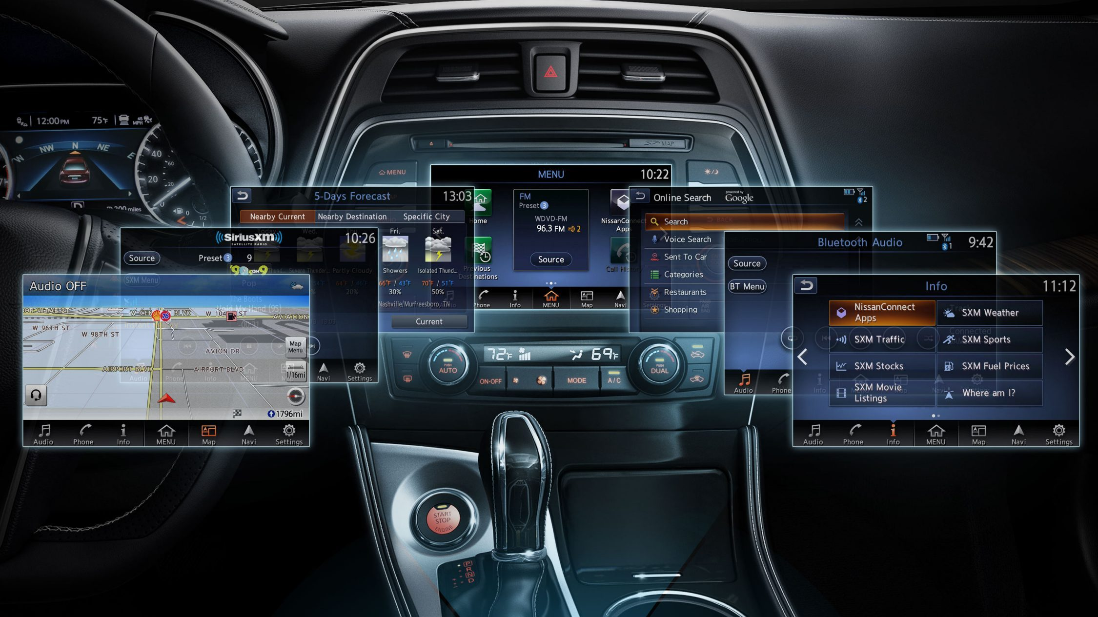 NissanConnect with multiple screens.