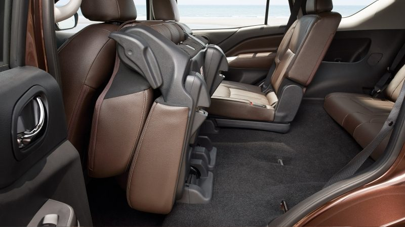 Nissan Terra interior showing second row seat tipped up
