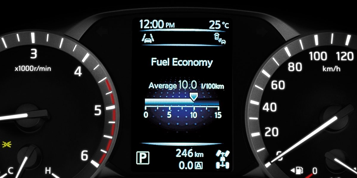 Nissan Terra Advanced Drive Assist Display showing fuel economy