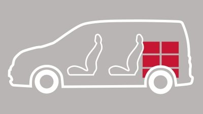 e-NV200 Combi illustration showing seating and cargo space