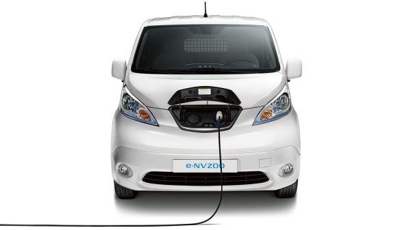 Front angle of e-NV200 charging