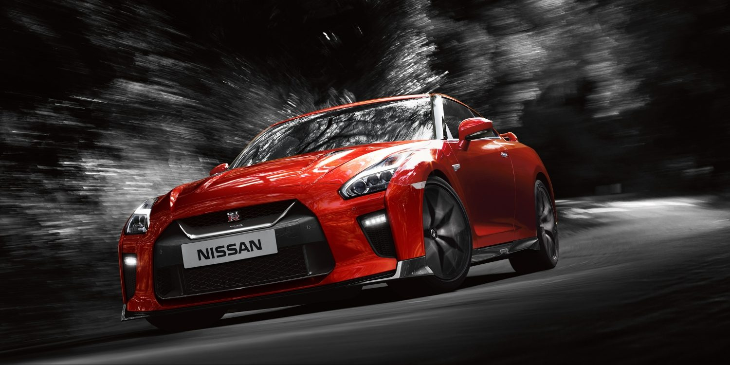 Nissan GT-R on curving country road