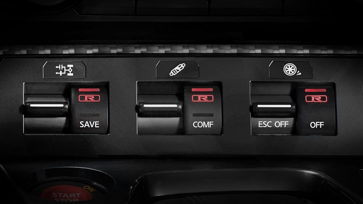 Nissan GT-R 3-mode switch R-MODE