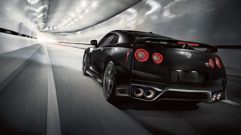 Nissan GT-R at speed in a tunnel