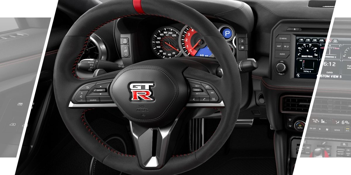 Nissan GT-R NISMO Alcantara-covered steering wheel
