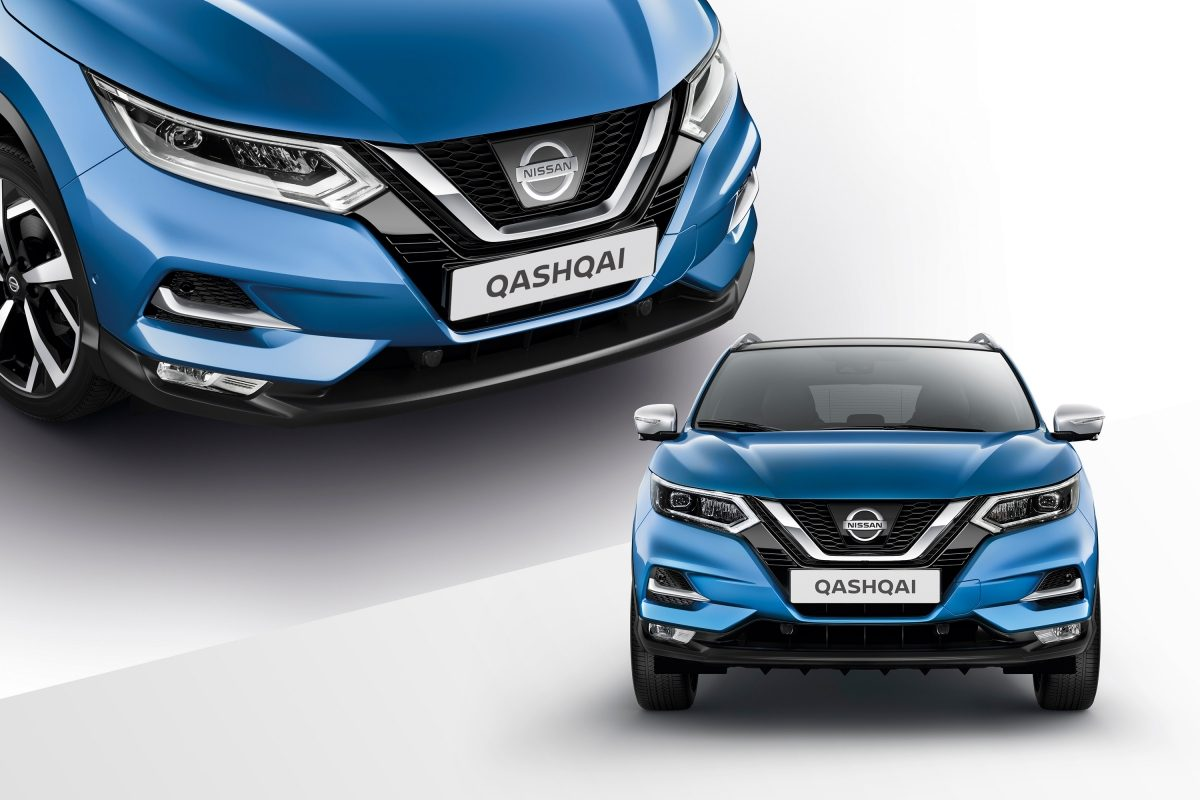 Qashqai collage front and profile detail of mirror caps