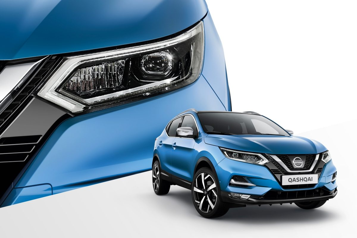 Qashqai collage 3/4 front and profile detail of headlamp