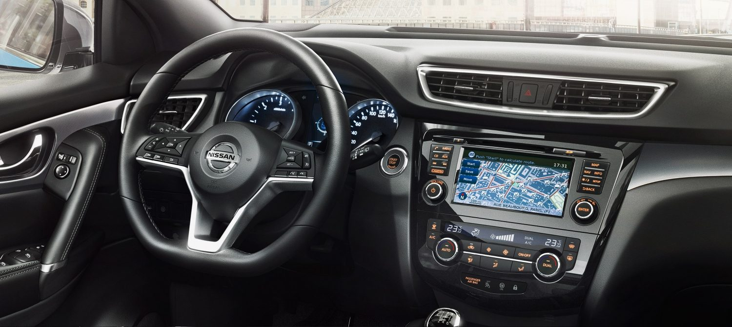 Qashqai Interior view of steering wheel and central console