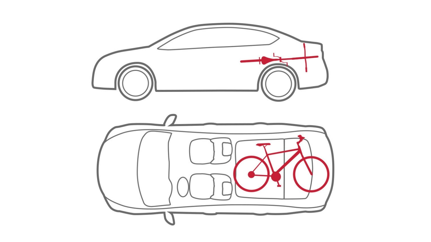 Animation of car with bike in trunk