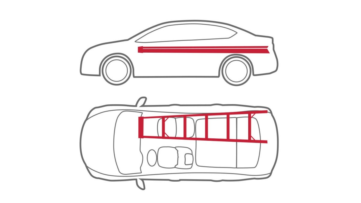 Animation of car with ladder across seat and trunk