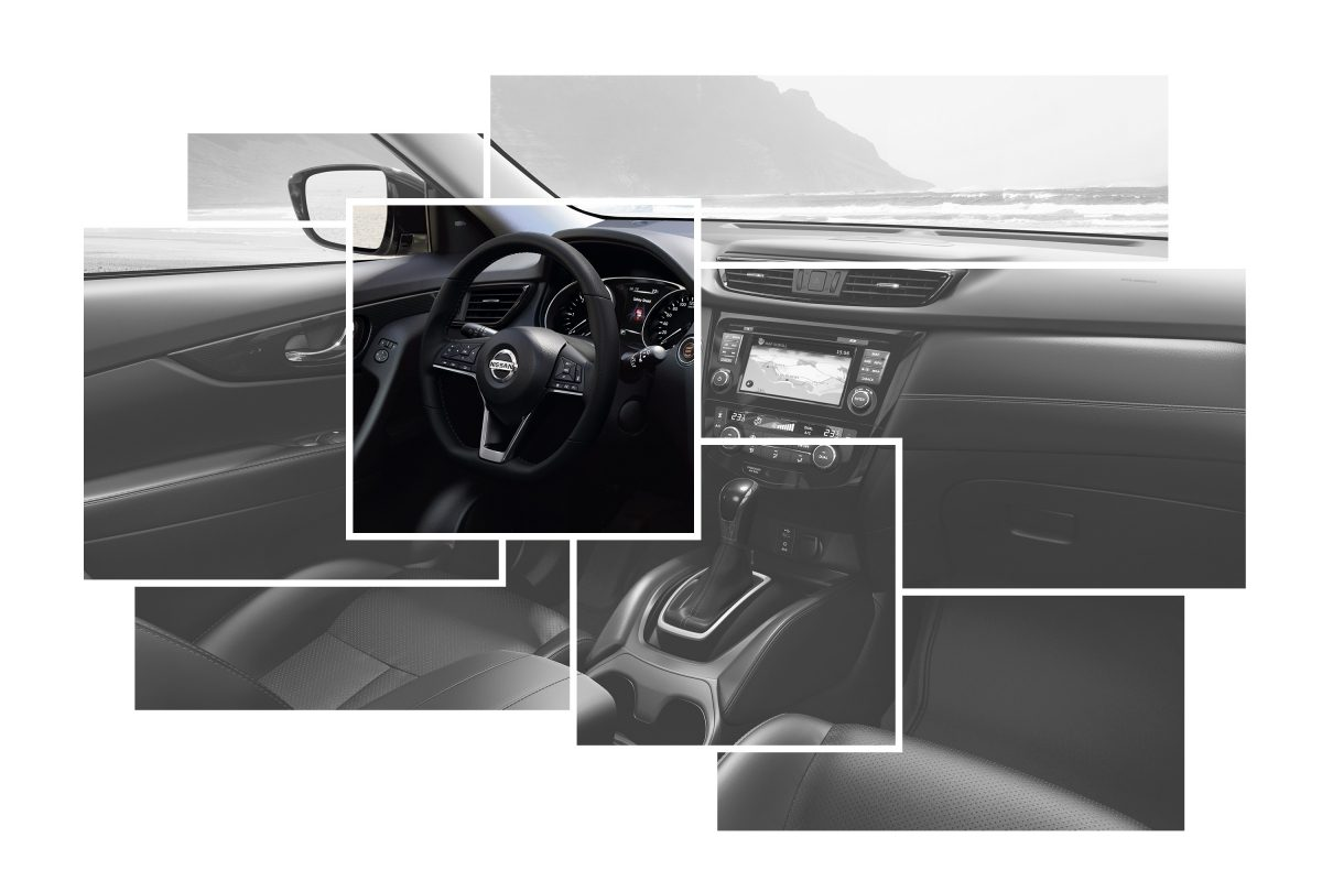 Nissan X-Trail Interior Design details carousel focus on D-shaped steering wheel