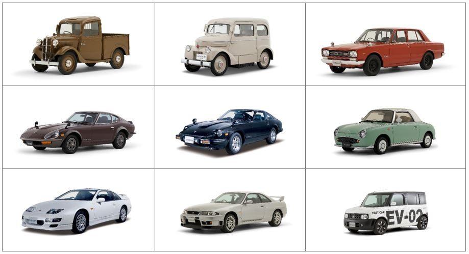 Grid of Nissan heritage vehicles